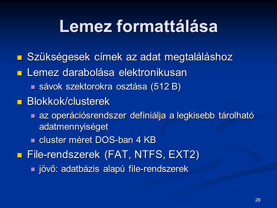Lemez formattálása Szükségesek címek az adat megtaláláshoz