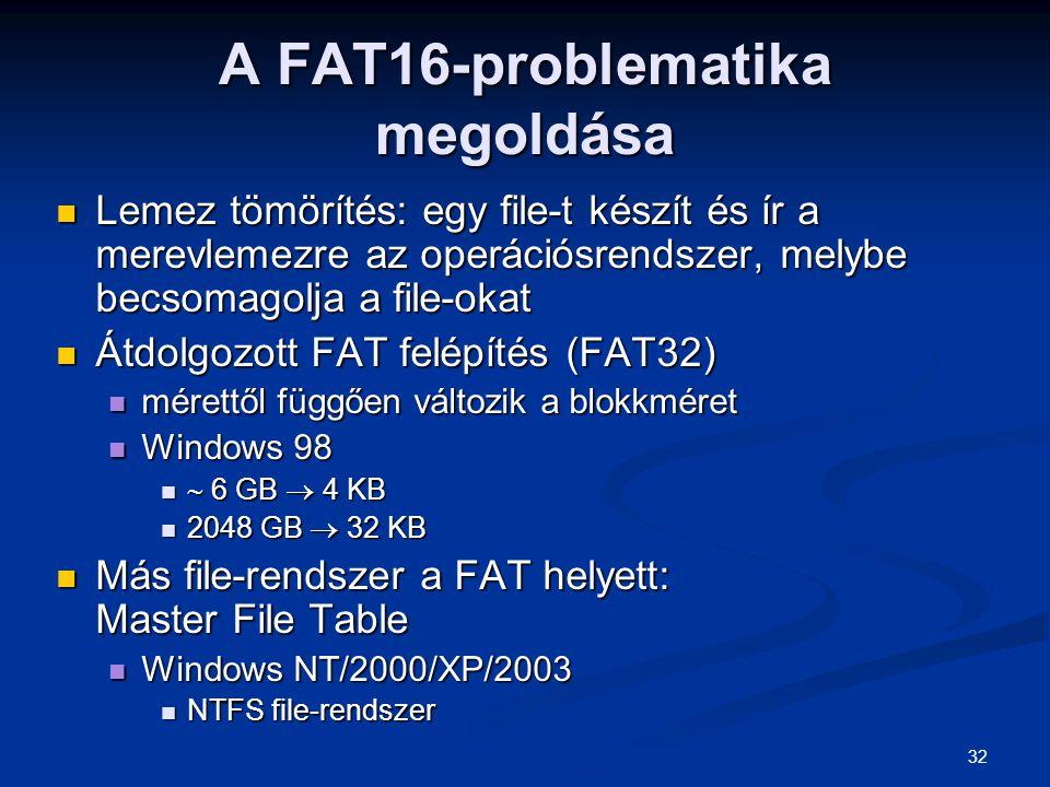 A FAT16-problematika megoldása