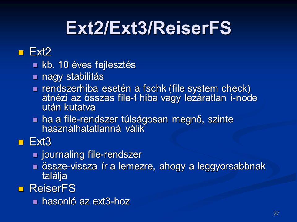 Ext2/Ext3/ReiserFS Ext2 Ext3 ReiserFS kb. 10 éves fejlesztés