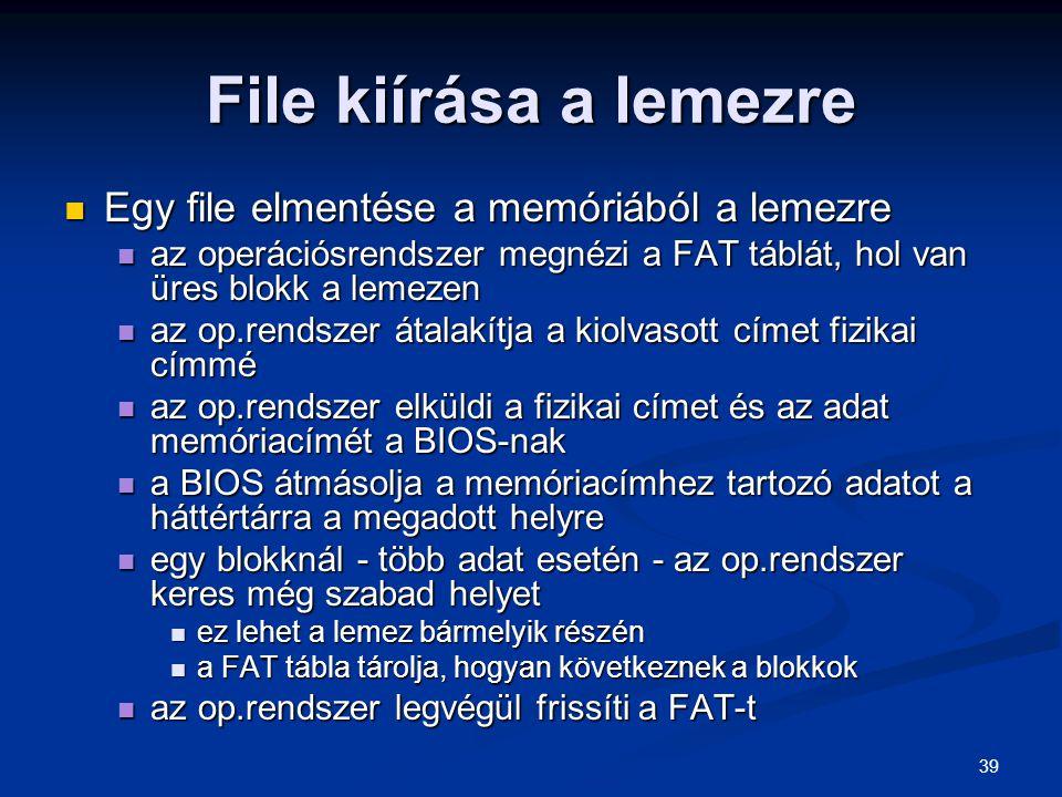 File kiírása a lemezre Egy file elmentése a memóriából a lemezre