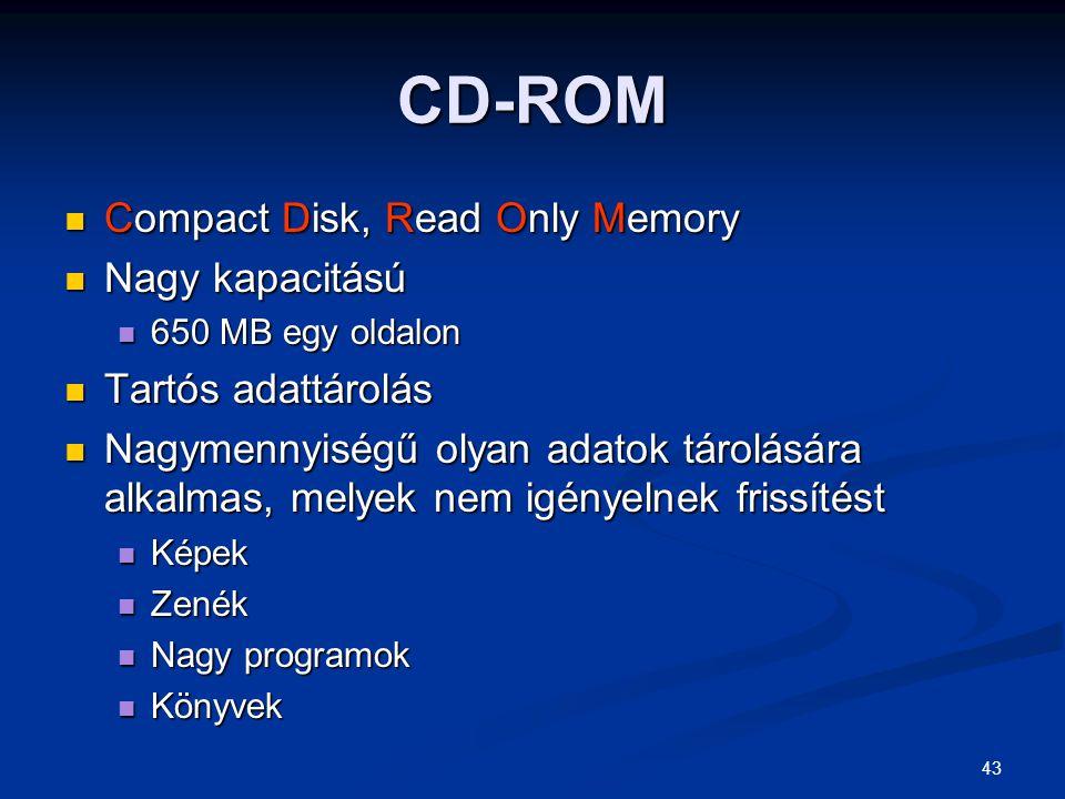 CD-ROM Compact Disk, Read Only Memory Nagy kapacitású