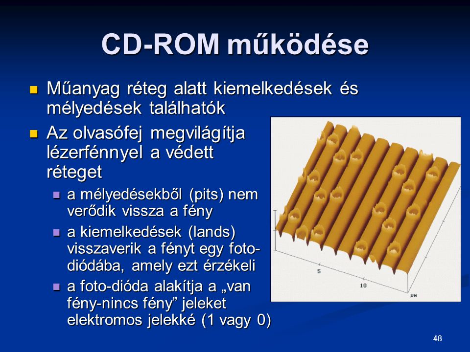 CD-ROM működése Műanyag réteg alatt kiemelkedések és mélyedések találhatók. Az olvasófej megvilágítja lézerfénnyel a védett réteget.