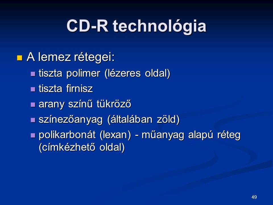 CD-R technológia A lemez rétegei: tiszta polimer (lézeres oldal)