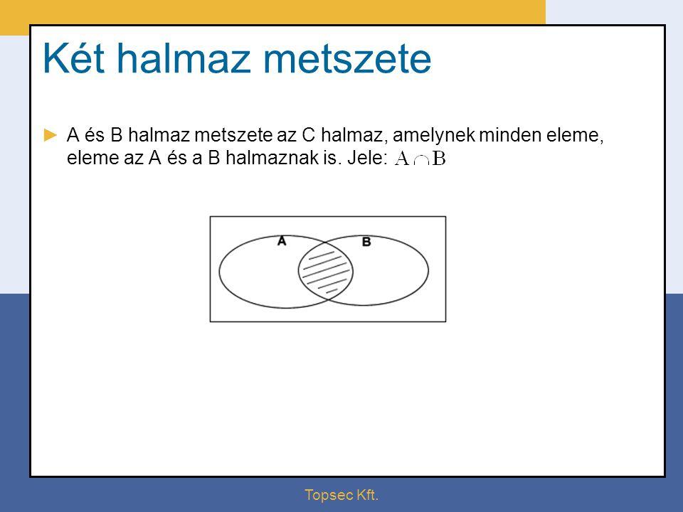 Két halmaz metszete A és B halmaz metszete az C halmaz, amelynek minden eleme, eleme az A és a B halmaznak is. Jele: