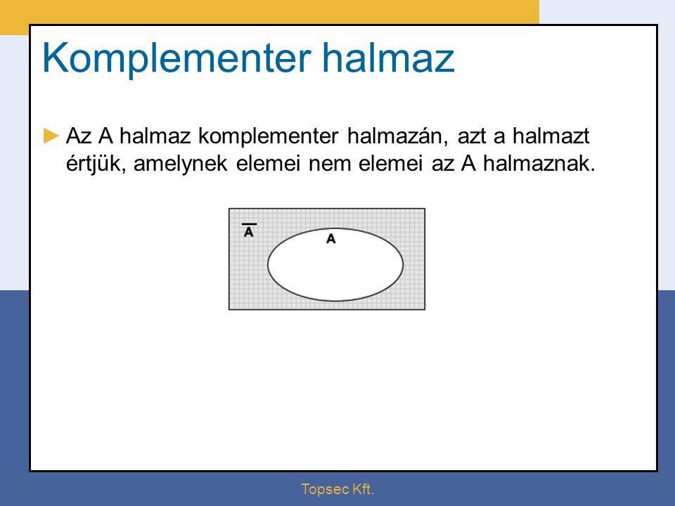 Komplementer halmaz Az A halmaz komplementer halmazán, azt a halmazt értjük, amelynek elemei nem elemei az A halmaznak.