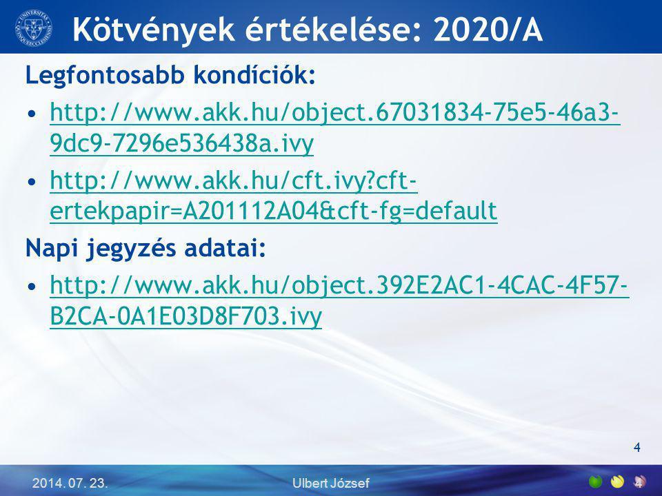 Kötvények értékelése: 2020/A