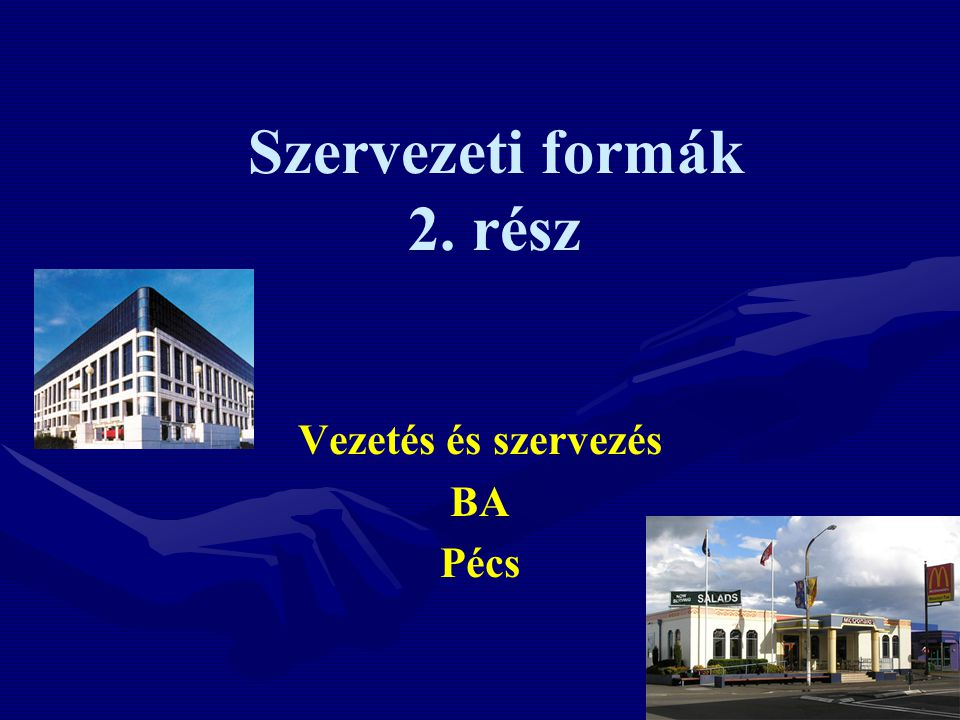 Szervezeti formák 2. rész
