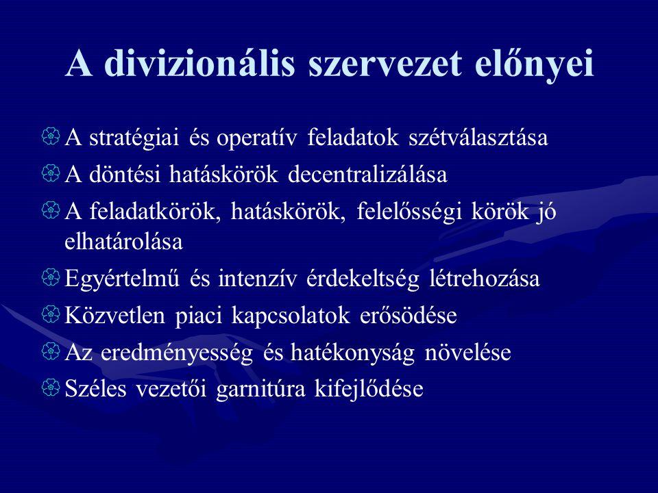 A divizionális szervezet előnyei