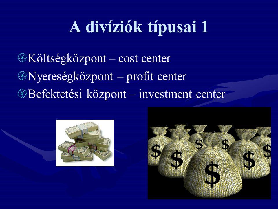 A divíziók típusai 1 Költségközpont – cost center