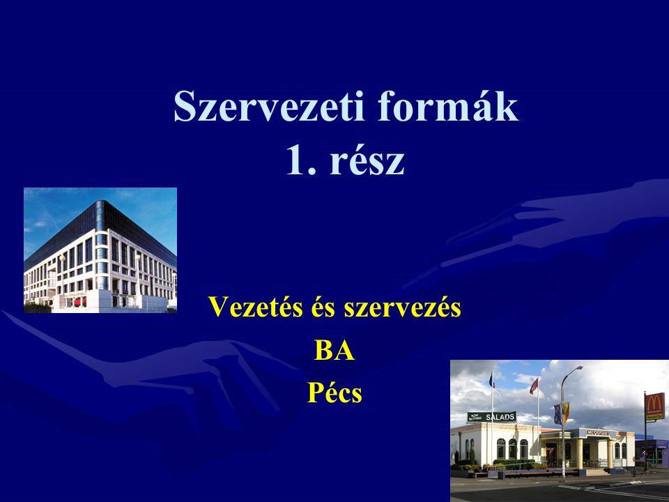 Szervezeti formák 1. rész