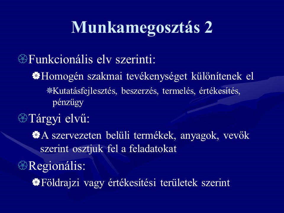 Munkamegosztás 2 Funkcionális elv szerinti: Tárgyi elvű: Regionális: