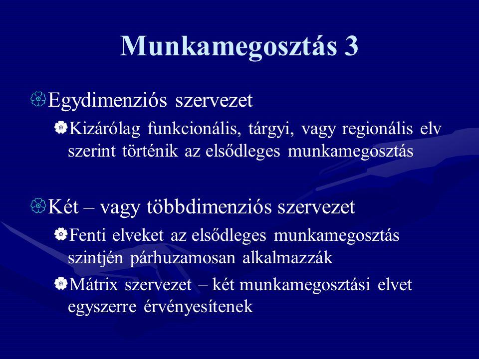 Munkamegosztás 3 Egydimenziós szervezet