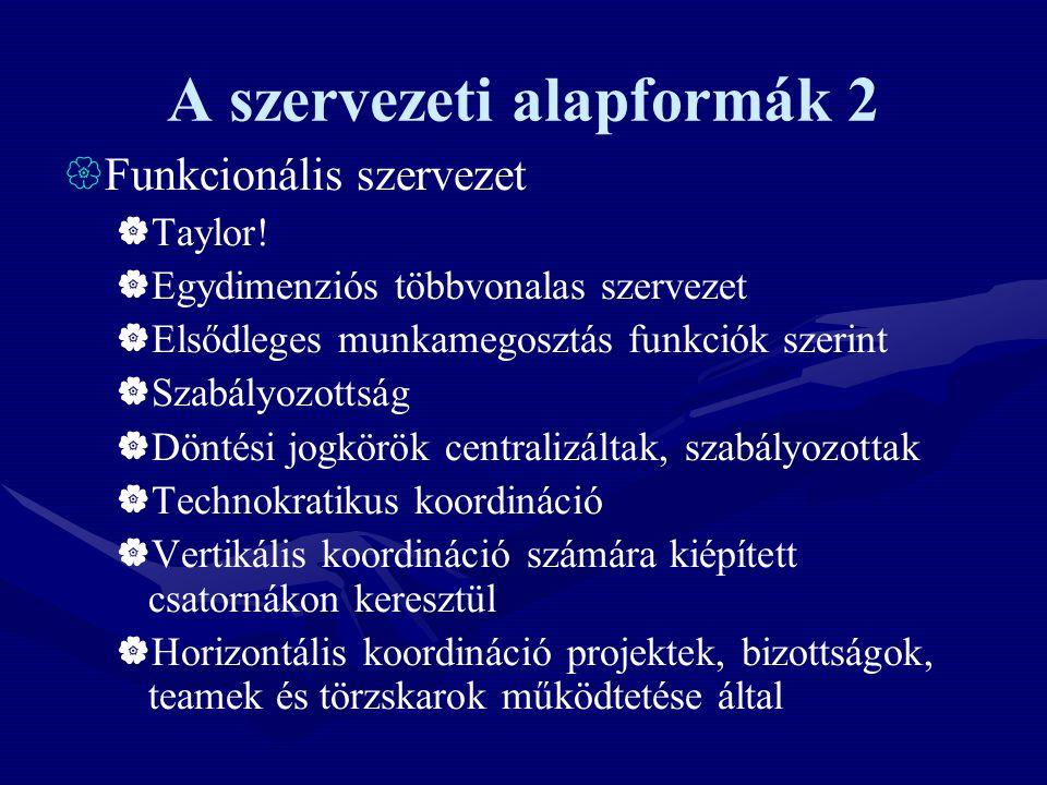 A szervezeti alapformák 2