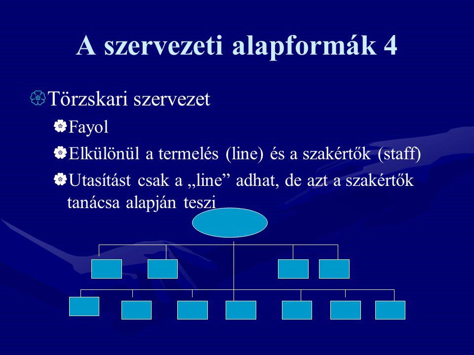 A szervezeti alapformák 4