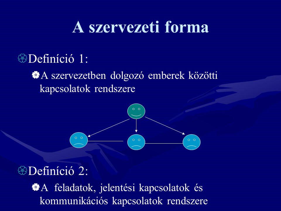 A szervezeti forma Definíció 1: Definíció 2: