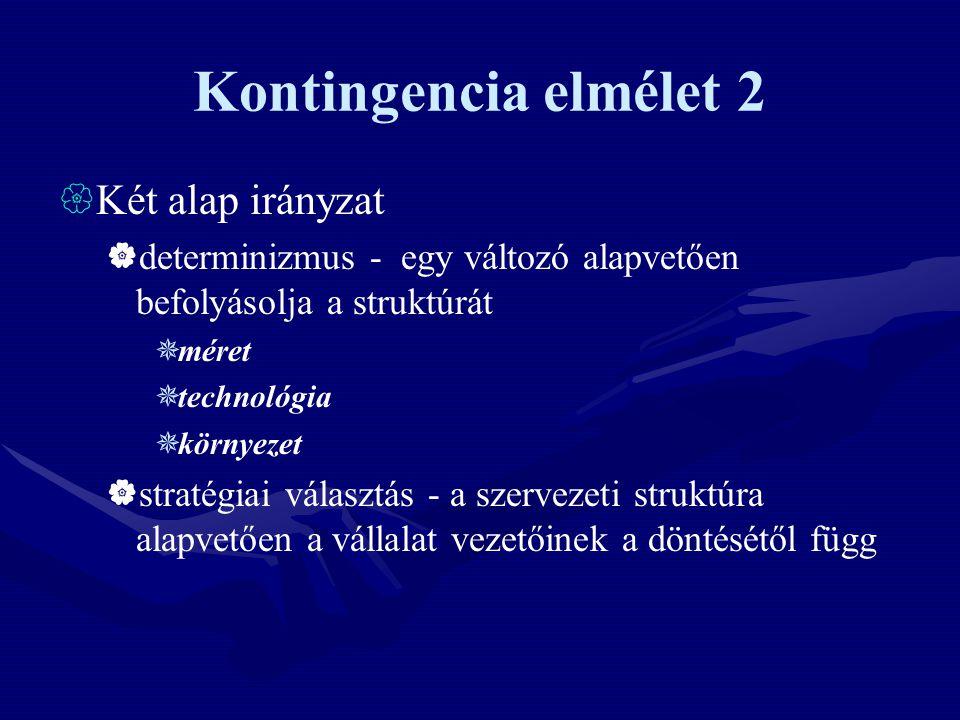 Kontingencia elmélet 2 Két alap irányzat