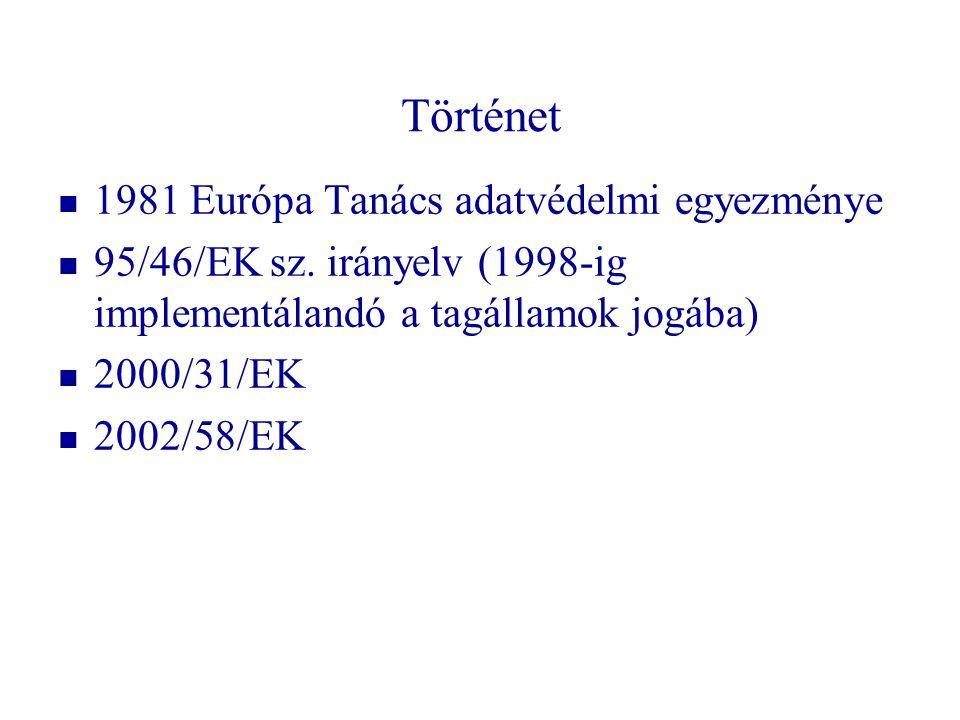 Történet 1981 Európa Tanács adatvédelmi egyezménye