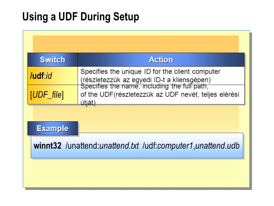 Using a UDF During Setup