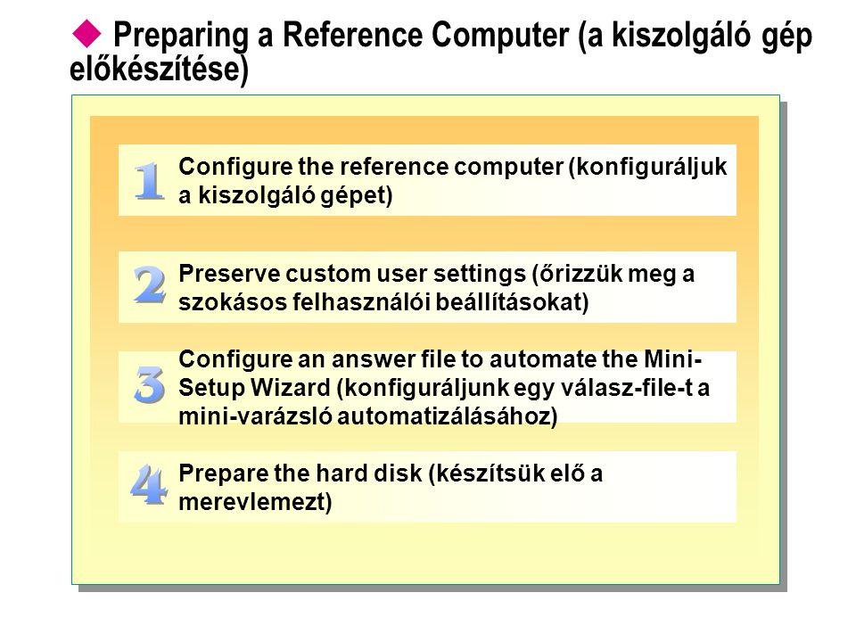 Preparing a Reference Computer (a kiszolgáló gép előkészítése)