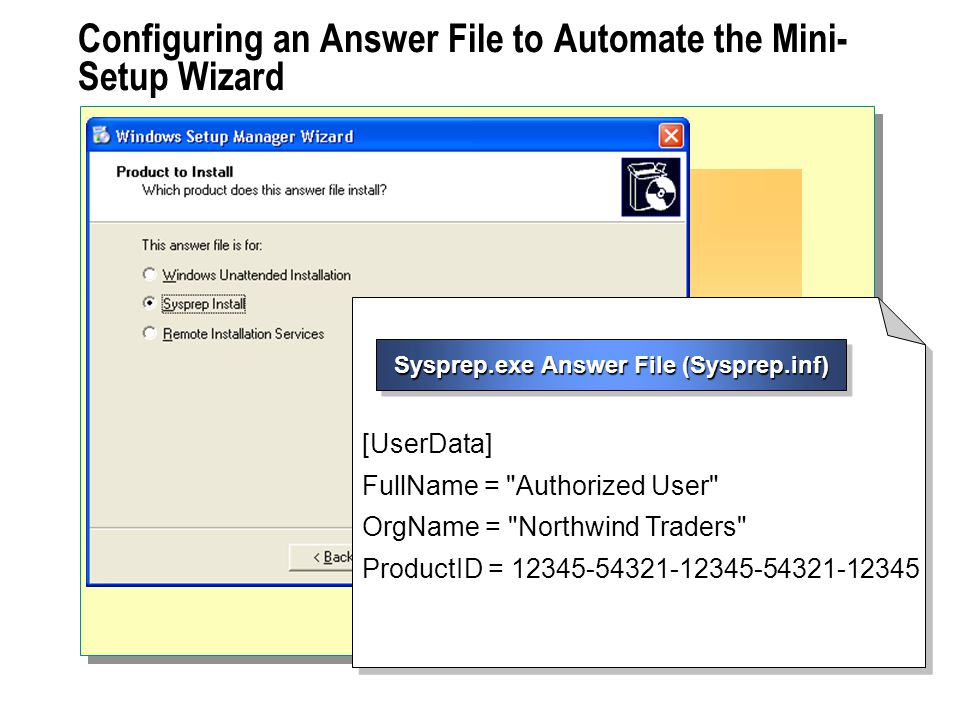 Configuring an Answer File to Automate the Mini-Setup Wizard