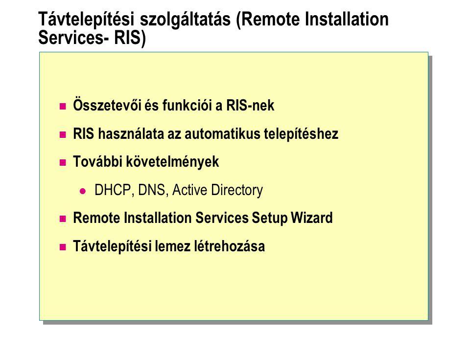 Távtelepítési szolgáltatás (Remote Installation Services- RIS)