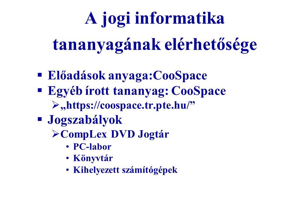 A jogi informatika tananyagának elérhetősége