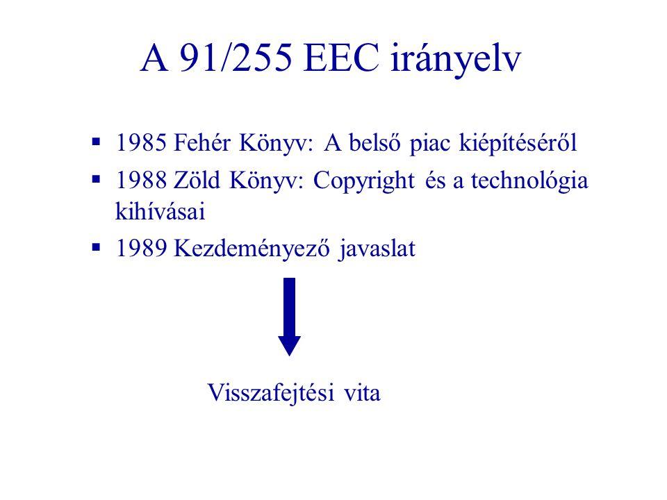 A 91/255 EEC irányelv 1985 Fehér Könyv: A belső piac kiépítéséről