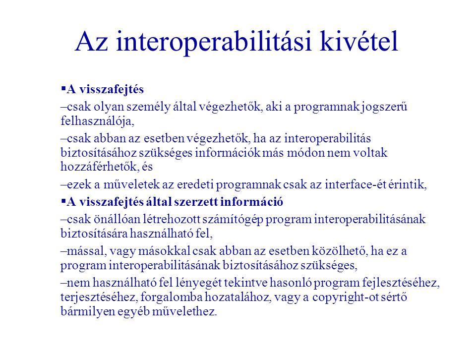 Az interoperabilitási kivétel