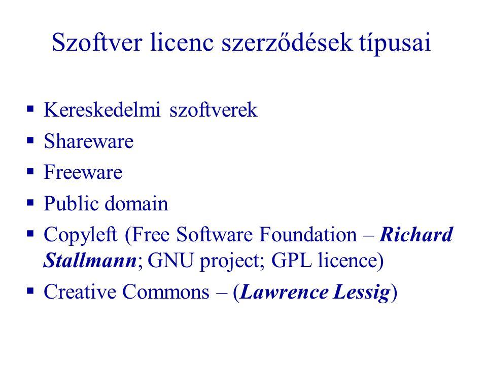 Szoftver licenc szerződések típusai