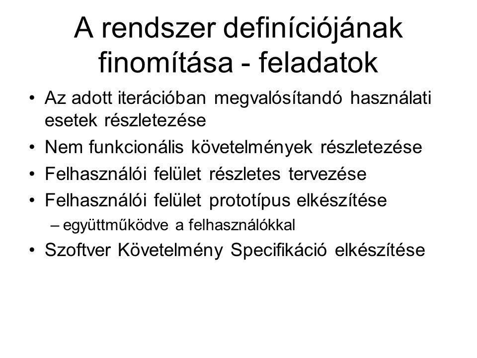 A rendszer definíciójának finomítása - feladatok