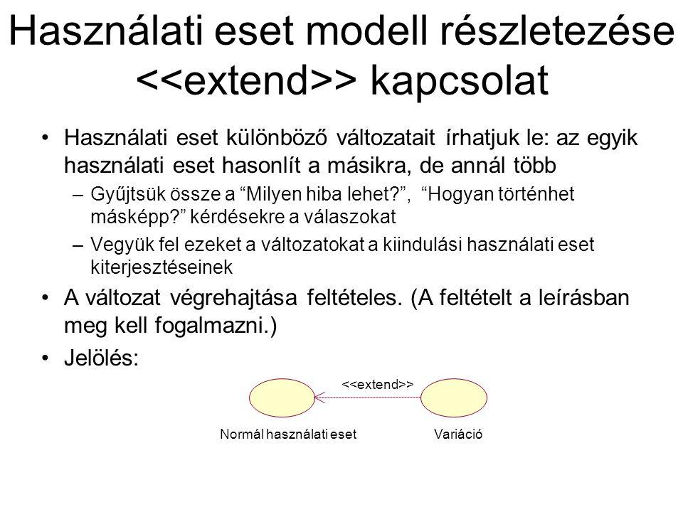 Használati eset modell részletezése <<extend>> kapcsolat