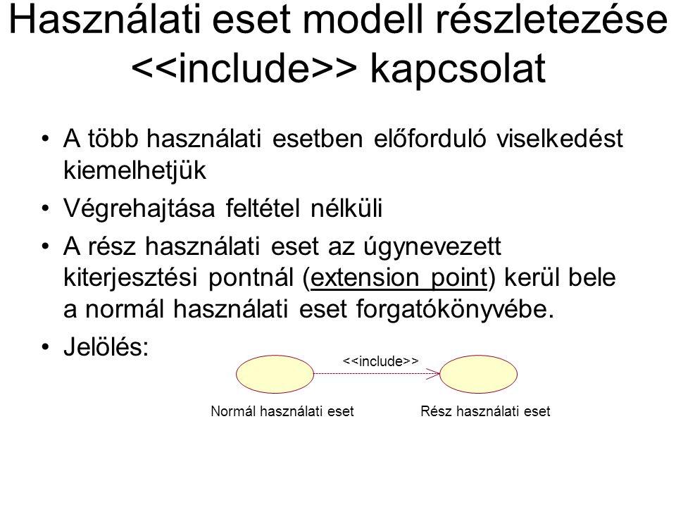Használati eset modell részletezése <<include>> kapcsolat