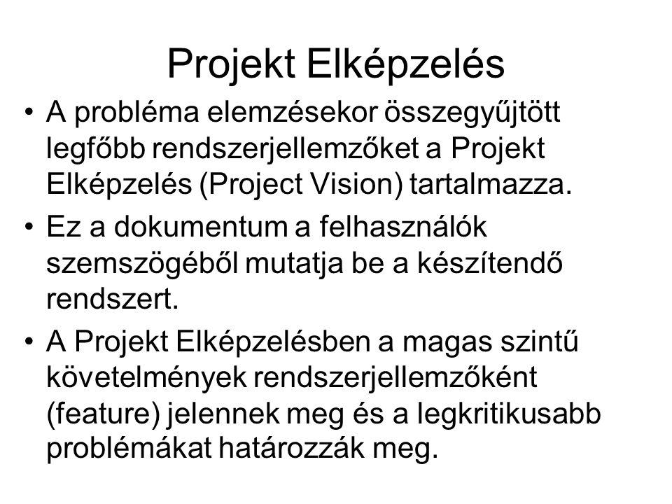 Projekt Elképzelés A probléma elemzésekor összegyűjtött legfőbb rendszerjellemzőket a Projekt Elképzelés (Project Vision) tartalmazza.