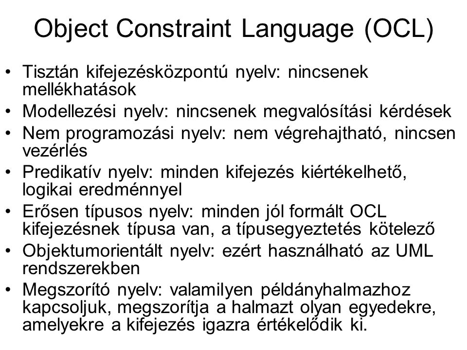Object Constraint Language (OCL)