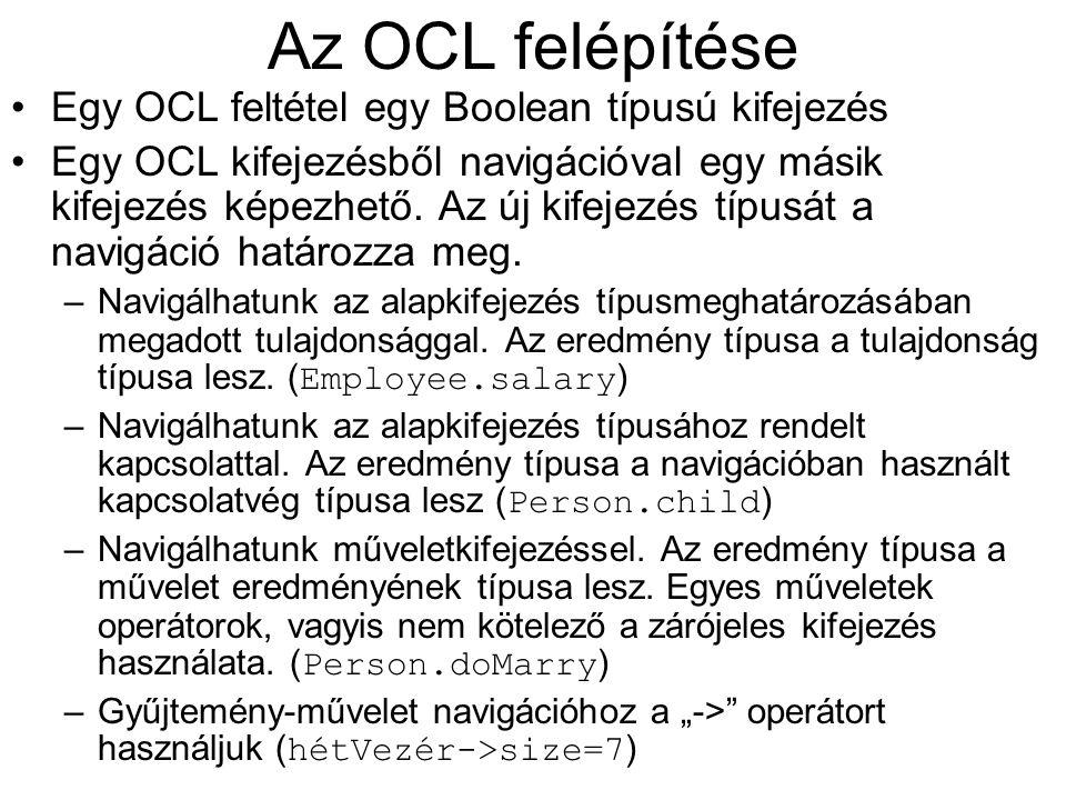 Az OCL felépítése Egy OCL feltétel egy Boolean típusú kifejezés