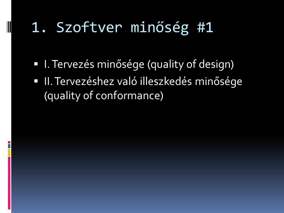 1. Szoftver minőség #1 I. Tervezés minősége (quality of design)