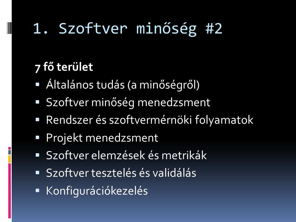 1. Szoftver minőség #2 7 fő terület Általános tudás (a minőségről)