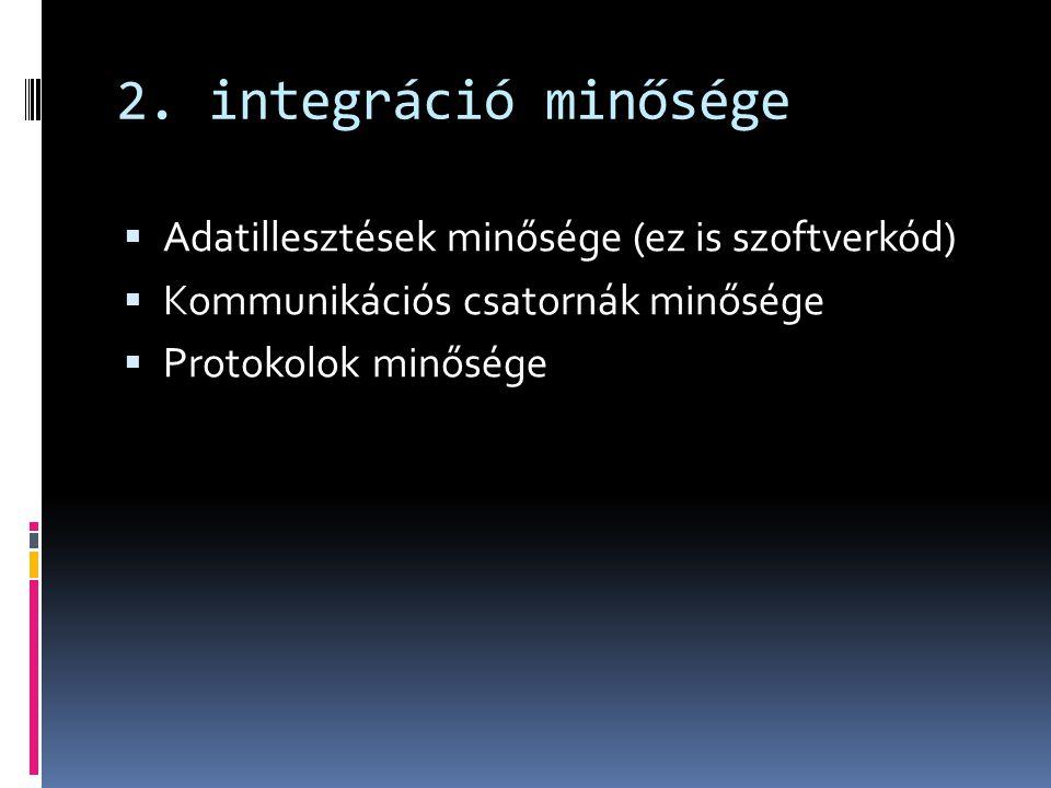 2. integráció minősége Adatillesztések minősége (ez is szoftverkód)