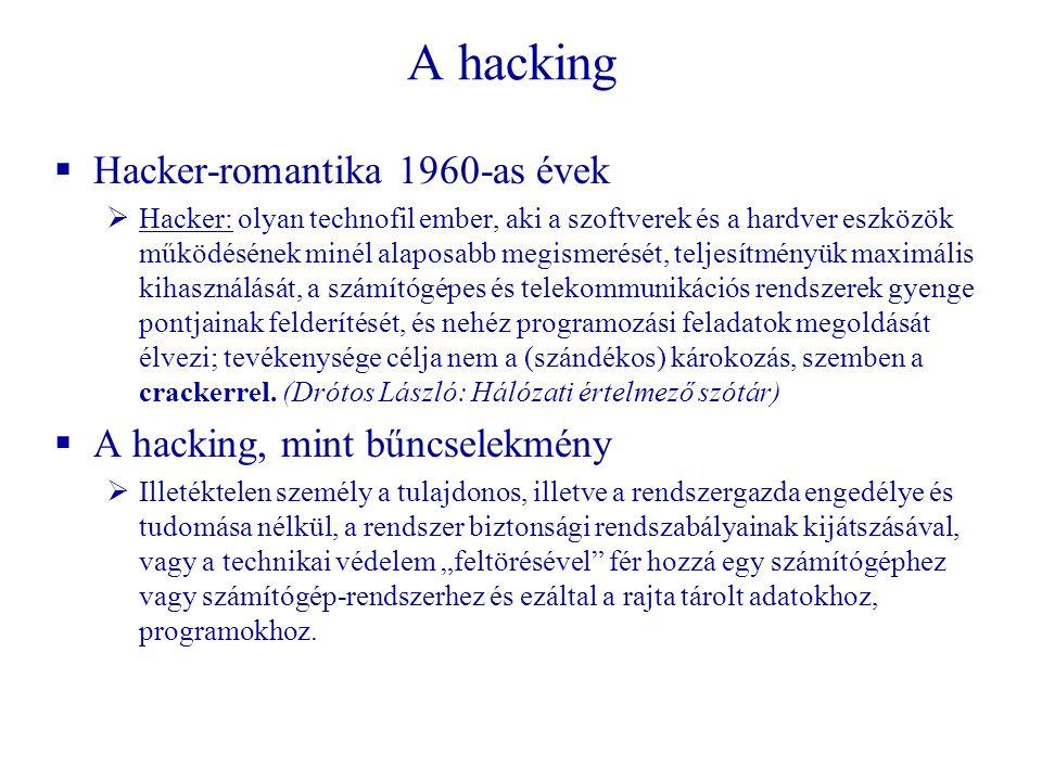 A hacking Hacker-romantika 1960-as évek A hacking, mint bűncselekmény