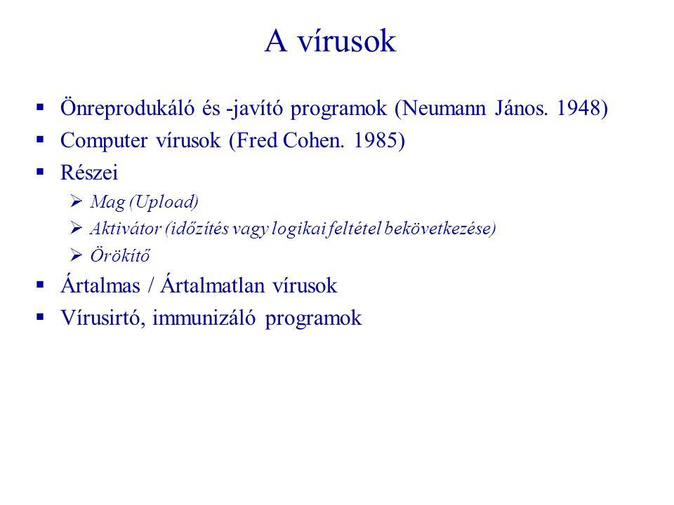 A vírusok Önreprodukáló és -javító programok (Neumann János. 1948)