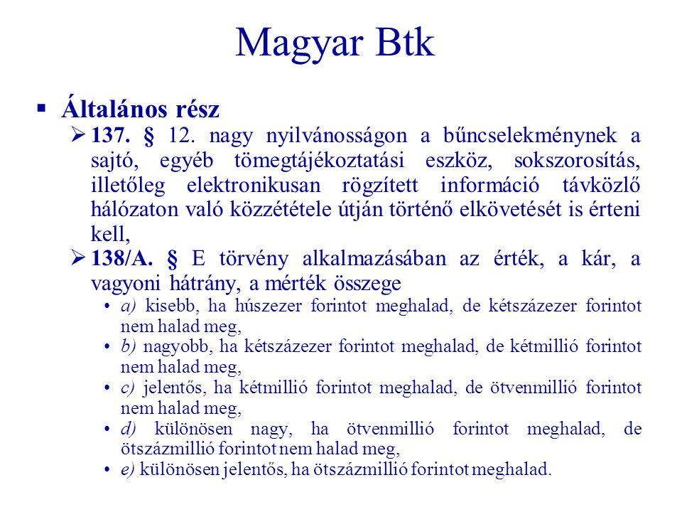 Magyar Btk Általános rész