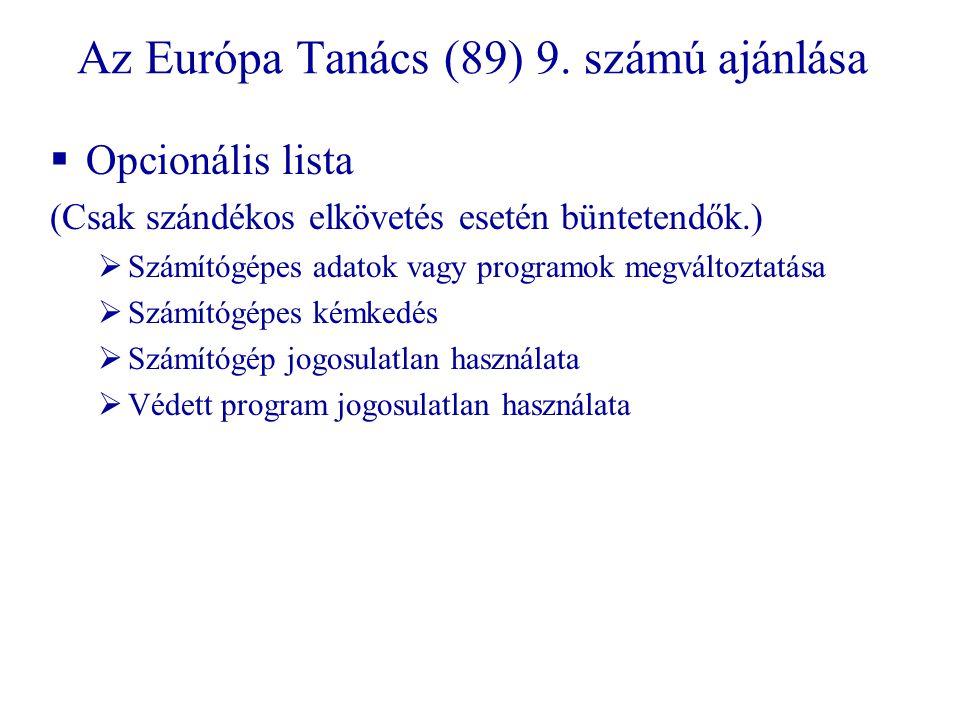 Az Európa Tanács (89) 9. számú ajánlása
