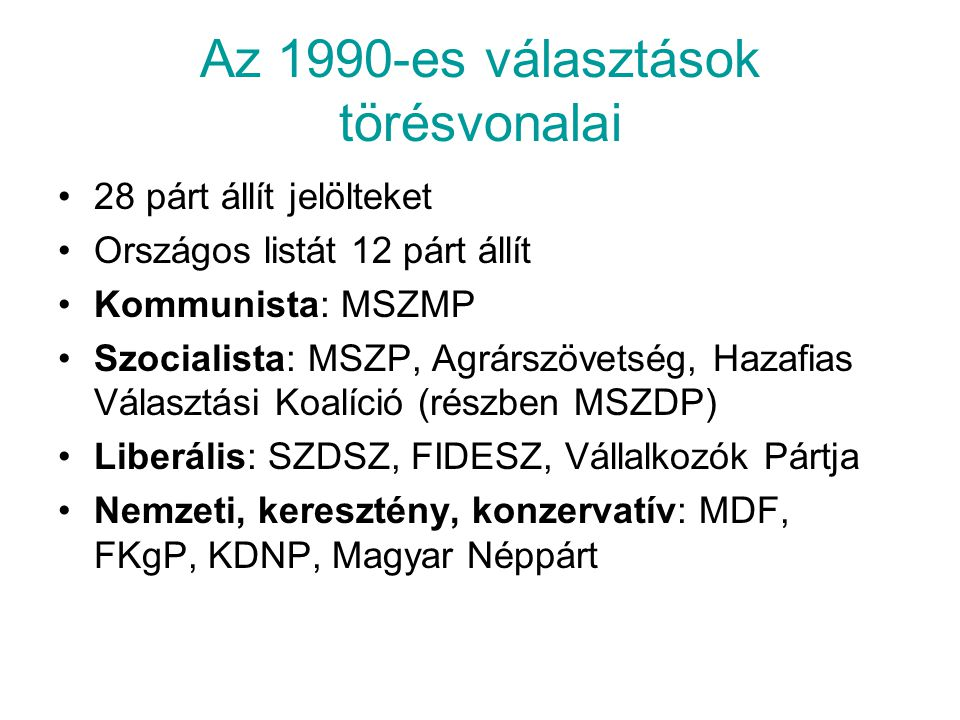 Az 1990-es választások törésvonalai