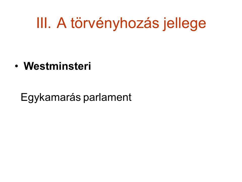 III. A törvényhozás jellege