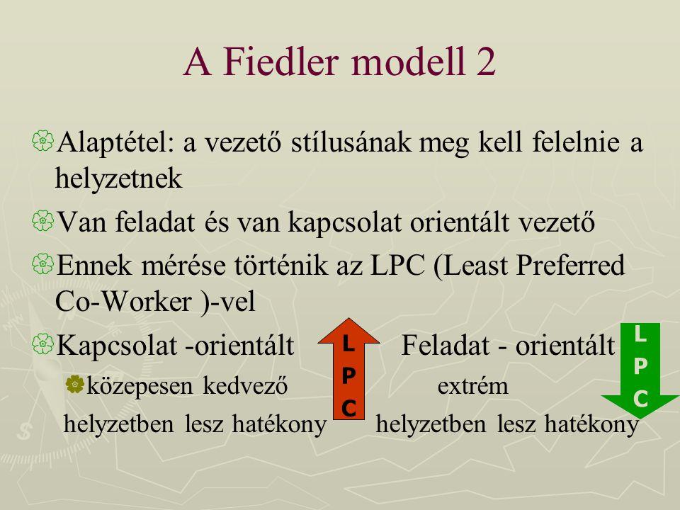 A Fiedler modell 2 Alaptétel: a vezető stílusának meg kell felelnie a helyzetnek. Van feladat és van kapcsolat orientált vezető.