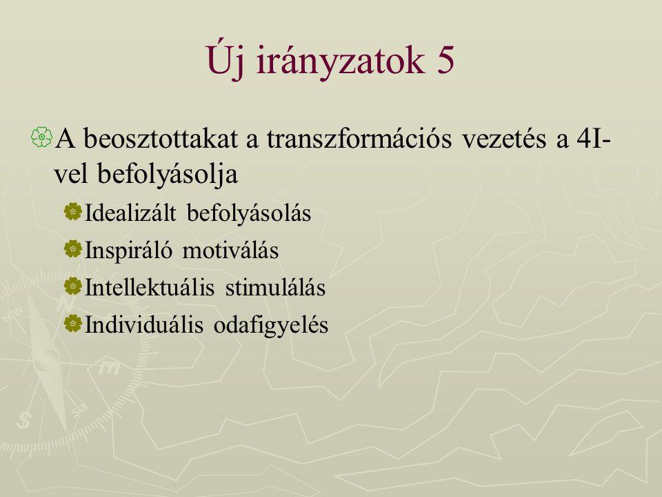 Új irányzatok 5 A beosztottakat a transzformációs vezetés a 4I-vel befolyásolja. Idealizált befolyásolás.