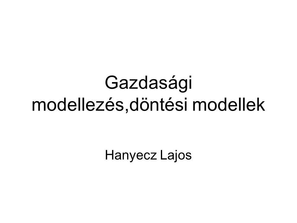 Gazdasági modellezés,döntési modellek
