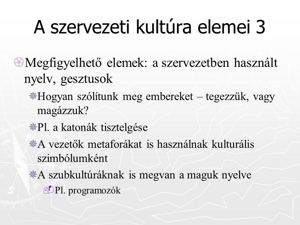 A szervezeti kultúra elemei 3