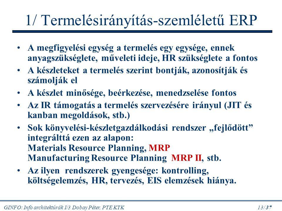 1/ Termelésirányítás-szemléletű ERP