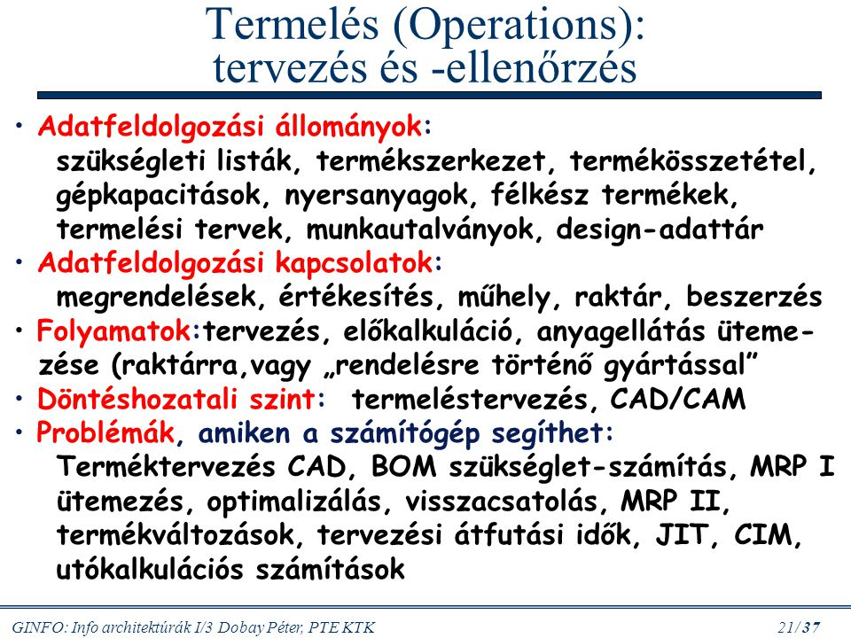 Termelés (Operations): tervezés és -ellenőrzés